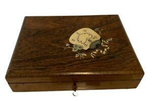 Coffret a peinture en palissandre et marqueterie de laiton gravé XIX siècle