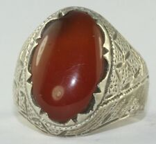 1950'S VINTAGE STERLING SILVER CARNELIAN MENS RING SIZE 8.25 ETCHED SETTING