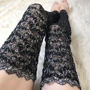 Black Sheer Lace Leg Warmers Silver Floral Knee Socks Goth Thigh Highs Leggings