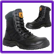 Mens None Safety Boots Black Leather Army Police Security Combat Zip Military