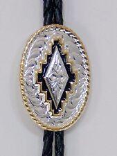 Western Bolo Tie 1-5/8 inch Oval/Silver, Gold/Southwest