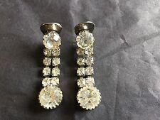 VINTAGE Antique Clip On Drop Dangle Earrings Clear Rhinestones Long Silver Tone