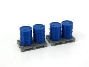 Equipmen in Scale 1:43 Diorama Parts 2 pcs. Euro Pallet with 4 pcs. Barrels Blue