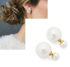 Front back 360 Gold stud Earrings Urban Trend Double Sided White Pearl Ball