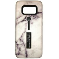 For Samsung Galaxy S8 Shockproof Marble Finger Holder Kickstand Case Cover White