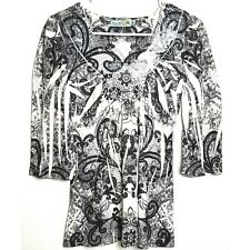Unity World Wear Petite Women's Embellished Sequined Black and White Blouse PS