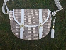 H! By Henry Holland Hemp Bag Handbag Summer White Beige Tassel