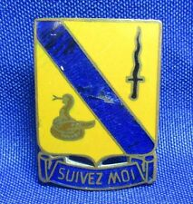 WWII German Made 14th Cavalry Regiment Suivez Moi DI Unit Crest Pin by Poellath