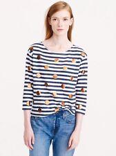 J. Crew Women's Cotton Striped Navy/White/Copper Foil Dot T-shirt/top Size M