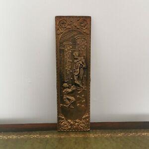 Elpec Vintage Decorative Wall Plaque. Wooden back. Brass relief repousse 60s 70s