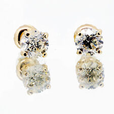 1.01 ct Round cut Diamond Stud Earring H Si2 14k Yellow Gold Screw Back