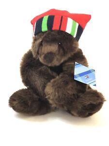 """Vintage TOMMY HILFIGER Gund Brownie BEAR Around 15"""" Plush Christmas Hat Toy"""
