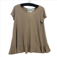 EUC She and Sky Taupe and Ivory Lace Top Womans Small