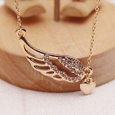 Hot Women Lady Charm Jewelry Angel Wings Love Heart Pendant Chain Necklace