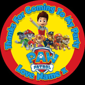 24 Personalised Stickers For Party/Sweet Cone Bags  Paw Patrol