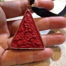 Hand Carved Genuine Red Cinnabar Pendant Silver Bronze Vintage Necklace Choker