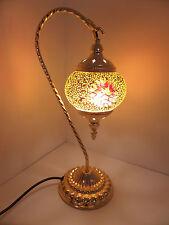 Turkish Lamp Swan Hand Made Moroccan Table Mosaic Colourful Glass Orange Star