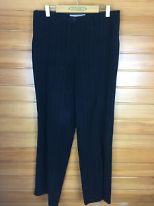 Anthea Crawford Black Finely Striped Business Work Pants Side Pockets Sze 12 EUC