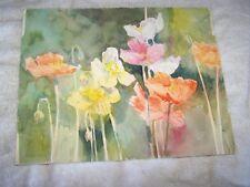 "Original Watercolor By Peg Humphreys, Poppies 14""x 11"""