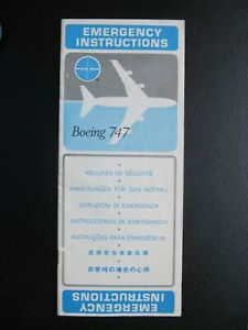 1971 PAN AM BOEING 747-121 SAFETY CARD airlines AMERICAN WORLD AIRWAYS Clipper