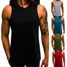 Mens Slim Fit Sleeveless Shirts Hooded Tops Muscle Hoodie Casual Vest T-shirt