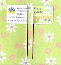 20 personalizzata HAPPY BIRTHDAY GIARDINO Cup Cake Bandiera Festa Cibo Topper Decorazione