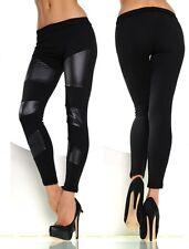 Women Black Wet Look Leather Patch Jeans Skinny Trouser Leggings Size 6 8 10 12