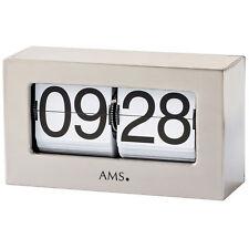 Ams 1175 Quartz Horloge de Table Argent Métal Klappzahlen Klappzahlenuhr Carré