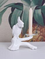 Kakadu Leuchter Weiss Kerzenhalter Kerzenleuchter Papagei Kandelaber Vogelfigur