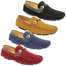 Mens Moccasins Suede Look Shoes Driving Loafers Slip On Boat Ribbon Italian New