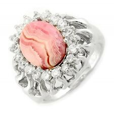 Sterling Silver Ring with Rhodochrosite and CZ Size 7.5