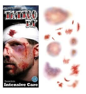 Tinsley Transfers Trauma Temporary Tattoos Intensive Care Halloween FX Makeup