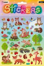 Owl Deer Skunk Fox Porcupine Glitter sticker craft school Art Quality