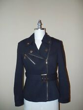 INC International Concepts BLACK w/ GOLD Trim MOTORCYCLE Style JACKET Sz M