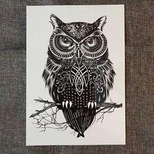 Men Women Waterproof Temporary Body Tattoos Large Black Owl Arm Tattoo Sticker