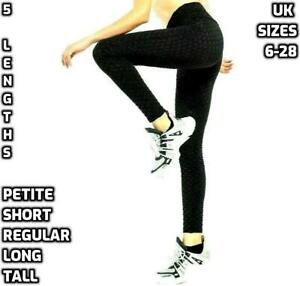 Women TALL Petite HONEYCOMB Anti-Cellulite LEGGINGS Ladies HIGH Waist YOGA Pants