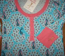 NWT Munki Munki Blue/Pink PEACOCKS Henley Sleep Shirt Nightgown L 3/4-Sleeve PJ