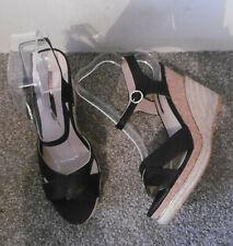 Dorothy Perkins Black ROXY Cross Over Wedge Sandals, Size UK 7 EU 40
