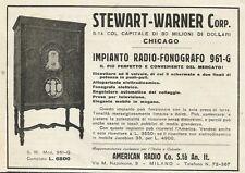 W0878 Impianto Radio Fonografo 961 g STEWART WARNER - Pubblicità 1930 - Advertis