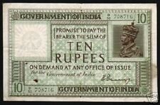 INDIA 10 RUPEES P6 1917 BRITISH KING GEORGE V RARE CURRENCY MONEY BILL BANK NOTE