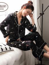Womens Stars Printed 100% Pure Mulberry Silk Pajamas Set Sleepwear 2Pcs Feng8