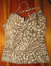 Victoria's Secret Tankini Swim Top brown / cream padded underwire cups Sz 34D