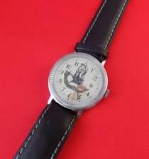 RARE Pobeda vintage men wrist watch Leather band Soviet USSR wristwatch Working