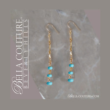 $495NEW RARE TURQUOISE 14K YELLOW GOLD ART DECO FACETED VTG DANGLE DROP EARRINGS