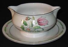 Haviland Garden Flowers Gravy/Sauce Boat with attached underplate pitcher server