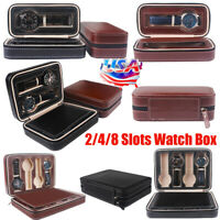 2/4/8 Grids Watch Box Travel Case PU Leather Jewelry Storage Collector Organizer