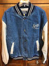 Sauza Tequila Men XL Denim Jean Varsity Jacket   Button Front Hong Kong Made