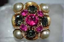 Vintage Vendome Crystal & Rhinestone Square Large Brooch Pin Rare*****