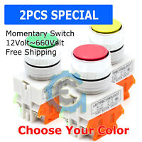 2PCS 22mm AC/DC Push Button RED GREEN YELLOW Switch Momentary On/ OFF Heavy Duty