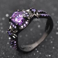 Junxin Charming Purple Amethyst Women Wedding Flower Ring Black Gold Jewelry US